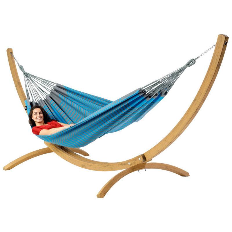 Tweepersoons hangmat Sounds of Curacao met houten standaard