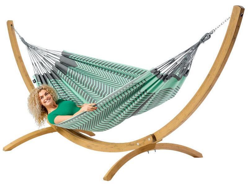 Tweepersoons hangmat Sounds of Mexico met houten standaard