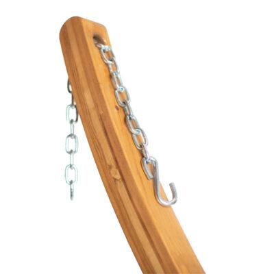 Houten hangmat standaard Elipso detailfoto van ketting