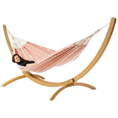 Hangmat Ibiza Boho met houten standaard